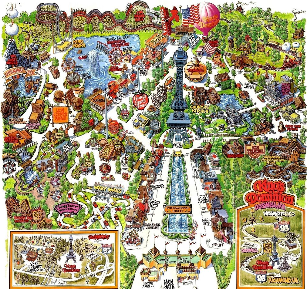 Kings Dominion Amusement Park map, 1970's