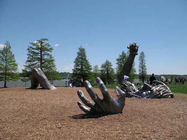 The Awakening sculpture at Hains Point in East Potomac Park