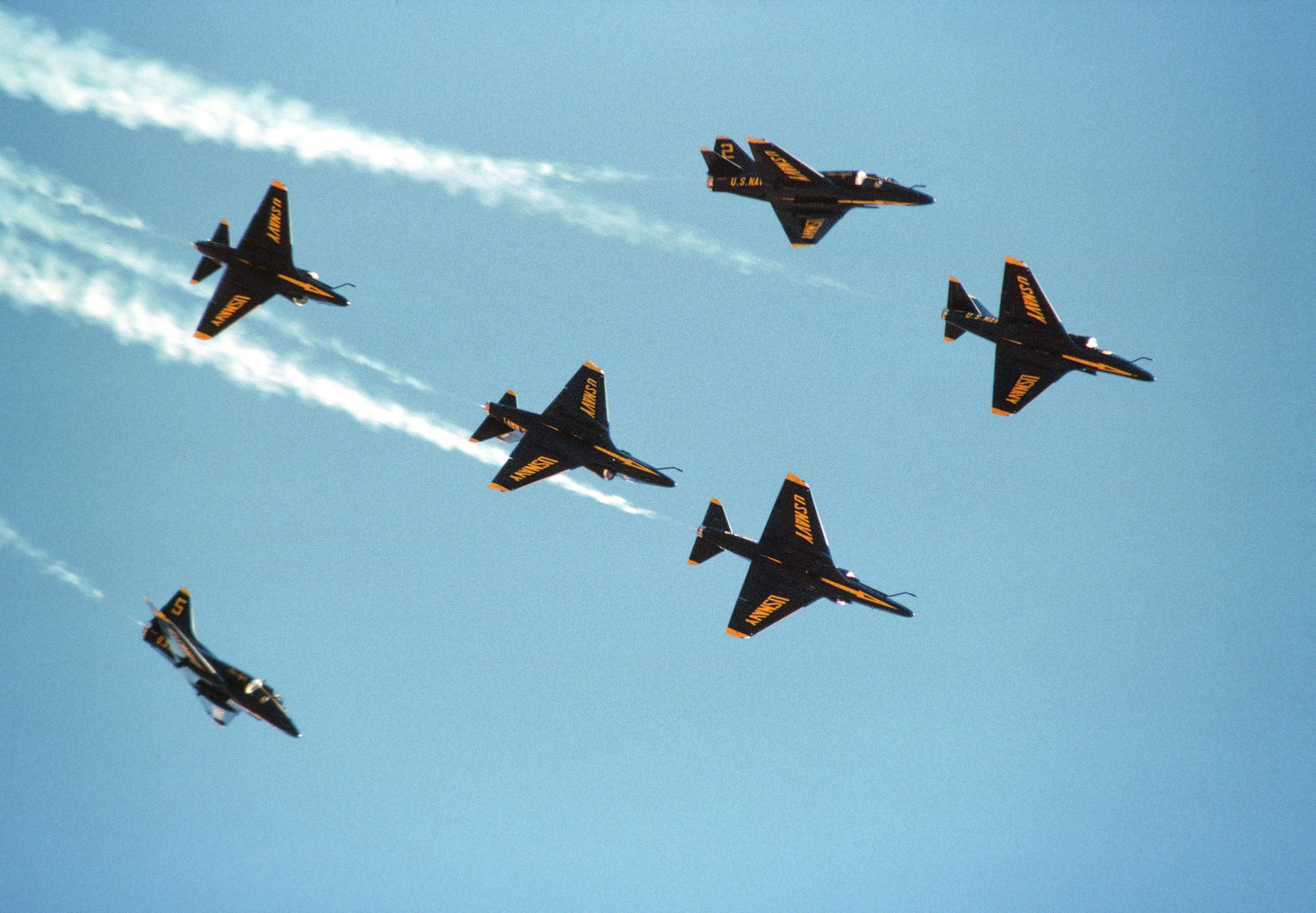 Blue Angels executing fleur-de-lis maneuver