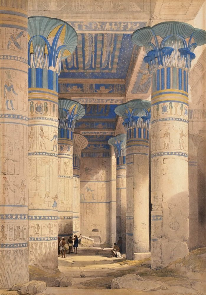 Lithograph painting of Egyptian Temple. View Under the Portico by David Roberts